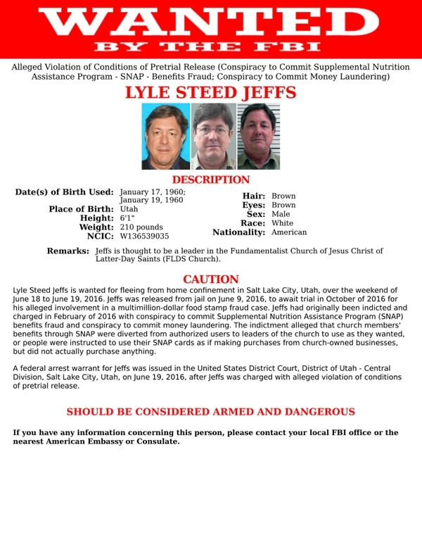 Courtesy   FBI Lyle Steed Jeffs Wanted Poster.