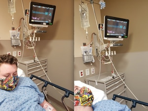 (Photos courtesy of Jennifer Draney) Spencer Knecht waits by a monitor at McKay Dee Hospital in Ogden, where he was admitted for diabetic ketoacidosis in December 2020. His blood sugar has been unstable since he contracted COVID-19 in September 2020, his family says, and they want federal health officials to recognize type 1 diabetes as one of the highest risk factors for serious illness related to the coronavirus.