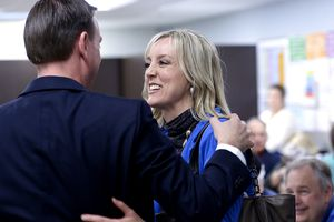 (Leah Hogsten  | Tribune file photo) Salt Lake County Councilwoman Aimee Winder Newton talks with her brother, state Rep. Mike Winder, R-West Valley City, at the Salt Lake County Republican Party Organizing Convention at Cottonwood High School on April 14, 2018.