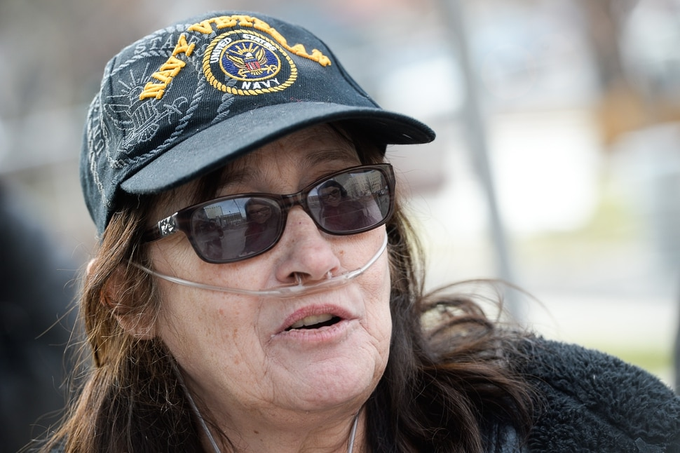 (Francisco Kjolseth | The Salt Lake Tribune) Penny Larsen, a disabled Navy veteran, is concerned with the House plan that eliminates the Work Opportunity Tax Credit (WOTC), which gives employers incentives to hire disabled veterans. A group of Utahns gathered to rally at the Wallace Bennett Federal Building in Salt Lake to tell personal stories of how they might be impacted by the tax reform plans currently on the table in Congress.