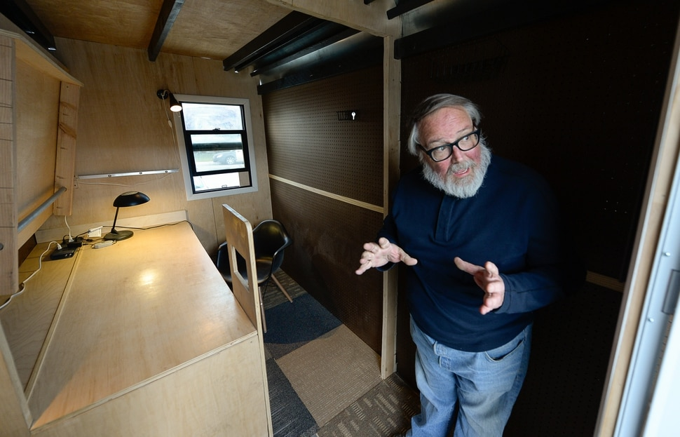 (Francisco Kjolseth | The Salt Lake Tribune) Small-home architect Jeff White gives a tour of his prototype Toaster House parked in South Salt Lake on Wednesday, Oct. 2, 2019. Toaster, an acronym for temporary, orderly, affordable, safe, transportable, effective and respectful, aims to help address a possible gap in homelessness services. He envisions the temporary, 60 square-foot spaces as a way to stabilize people and move them into permanent supportive housing in conjunction with Salt Lake City's homeless outreach team.