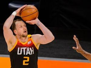 (Trent Nelson  |  The Salt Lake Tribune) Utah Jazz guard Joe Ingles (2) shoots as the Utah Jazz host the Brooklyn Nets, NBA basketball in Salt Lake City on Wednesday, March 24, 2021.