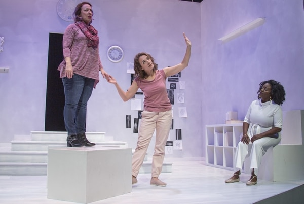 (Courtesy photograph by Rick Pollock for Plan-B Theatre Company)   Actors April Fossen, Susanna Florence, and Dee-Dee Darby-Duffin in playwright Jenifer Nii's new