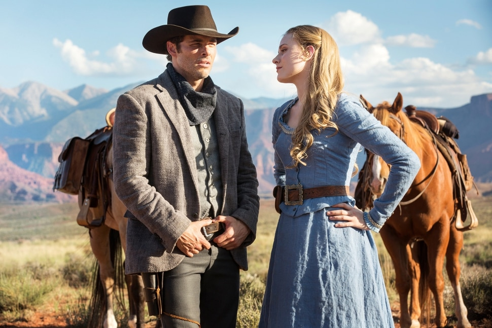 John P. Johnson | HBO James Marsden as Teddy Flood and Evan Rachel Wood as Dolores Abernathy in ÒWestworld.Ó