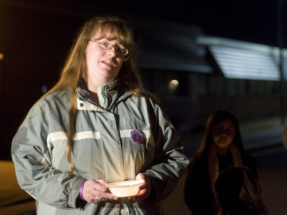 (Kim Raff |The Salt Lake Tribune) Kiirsi Hellewell makes a statement to the gathering at a vigil for the Powell family after the explosion at Josh Powell's house that killed himself and his two sons, Charlie and Braden, at Oquirrh Hills Elementary in Kearns on Feb. 5, 2012.