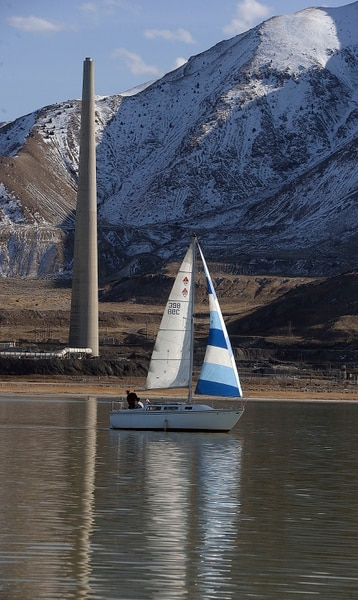 Al Hartmann | The Salt Lake Tribune Sailboat takes a trip on the Great Salt Lake Wednesday March 8. What was a common scene a few years ago is rare as most sailboats at the Great Salt Lake Marina at Great Salt Lake State Park can no longer leave the shallow harbor and through the inlet into the lake. Dredging of the harbor and inlet has started and with a rising Great Salt Lake helping should allow bigger sailboats to eventually come back to the lake.
