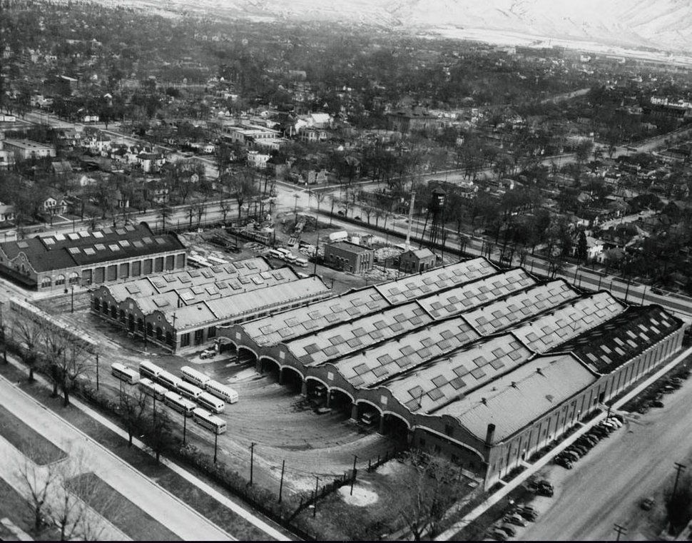 Courtesy | Utah State Historical Society Aerial view of the car barns, now Trolley Square, January 20, 1945.