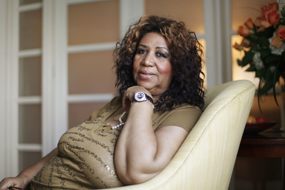 FILE - In this July 26, 2010 file photo, soul singer Aretha Franklin poses for a portrait in Philadelphia. Stevie Wonder visited an ailing Aretha Franklin at her home in Detroit on Tuesday, Aug. 14, 2018. Franklin's publicist Gwendolyn Quinn said Tuesday that the Rev. Jesse Jackson and Franklin's ex-husband, actor Glynn Turman, also visited the Queen of Soul, who is seriously ill. (AP Photo/Matt Rourke, File)