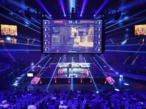 n this Feb. 18, 2017, photo, Teams compete against each other playing Counter-Strike: Global Offensive during the Dreamhack Masters e-sports tournament at the MGM Grand Garden Arena in Las Vegas. A permanent 15,000 square-foot e-sports facility is scheduled to open in Las Vegas. (AP Photo/John Locher)