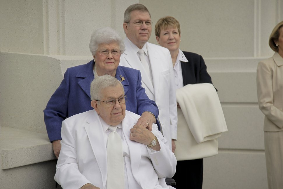 Courtesy | LDS Church President Boyd K. Packer, his wife Donna and their son Elder Allan F. Packer of the Seventy and his wife Terri participated in the cornerstone and dedication of the Brigham City Utah Temple.