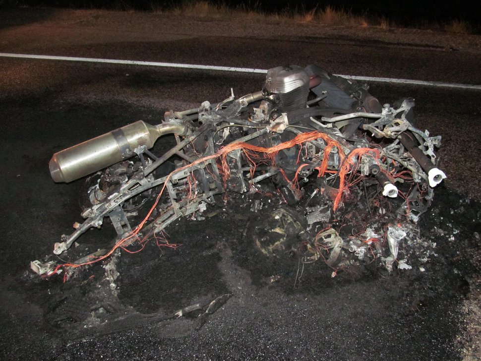 (Courtesy photo|UDOT) Charred remains of motorcycle after crash involving Peter Ballentine.