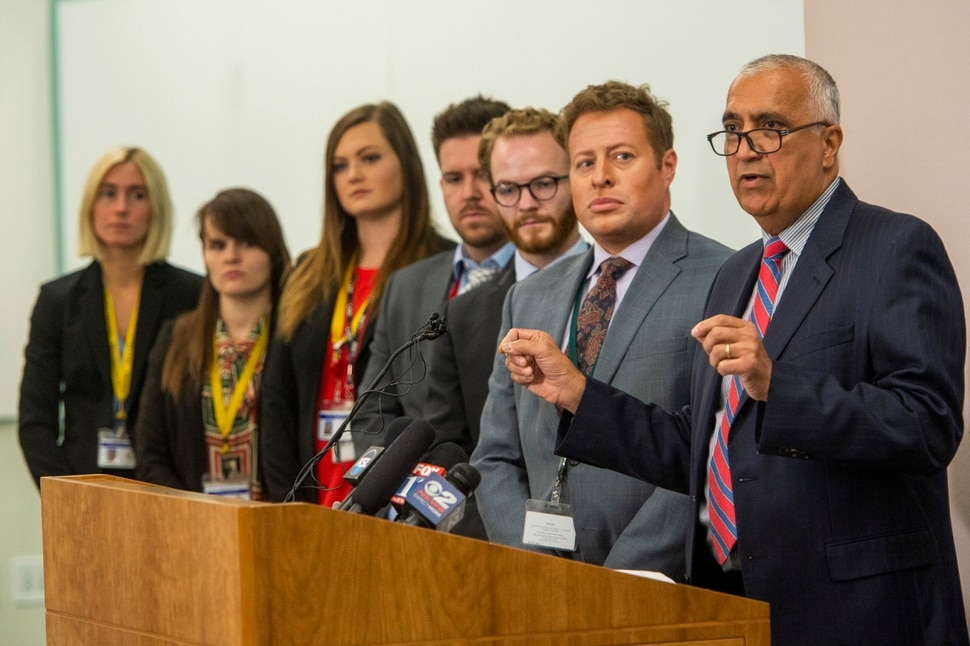 (Rick Egan | The Salt Lake Tribune) District Attorney Sim Gill, announces an effort to reduce penalties for minor drug offenses, during a news conference at the Salt Lake County District Attorney's Building, Tuesday, Sept. 24, 2019.