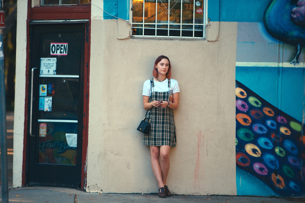 This image released by A24 Films shows Saoirse Ronan in a scene from Lady Bird. (Merie Wallace/A24 via AP)
