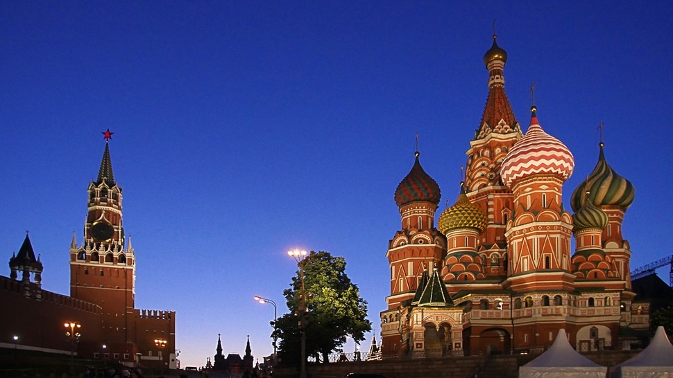 (Michael Stack | Special to The Salt Lake Tribune) Red Square at dusk, the Kremlin, seat of the government, left, and St. Basil's Cathedral on the right.
