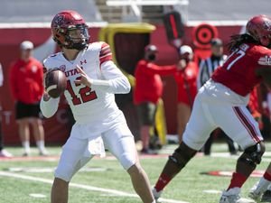 (Ed Kosmicki | Special to The Tribune) Utah quarterback Charlie Brewer prepares to let a pass fly during the annual spring football game in April. The Baylor transfer is set to battle Cam Rising for the Utes' starting job this fall.