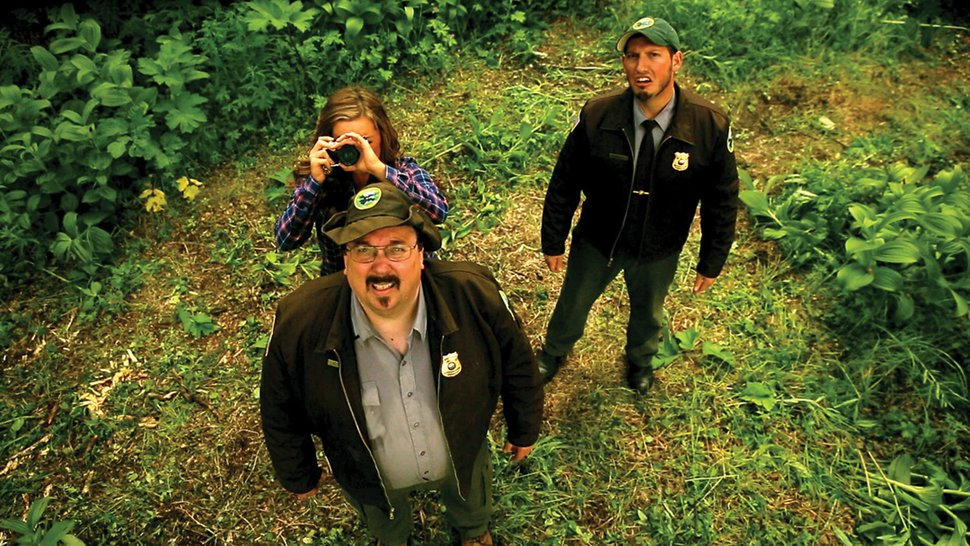(photo courtesy Sons of Winter Productions) Rangers Mike (Dave Nufer, left) and Zack (Zack Lanphier, right), along with coroner's assistant Samantha (Chantel Grover, with camera) find a shocking discovery in the Alaska-made horror-comedy