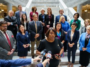 (Trent Nelson  |  The Salt Lake Tribune) Rep. Sandra Hollins, D-Salt Lake City, speaks, standing with other House Democrats who walked out of the House Chamber as Republicans moved to debate resolution on teaching critical race theory in Salt Lake City on Wednesday, May 19, 2021.