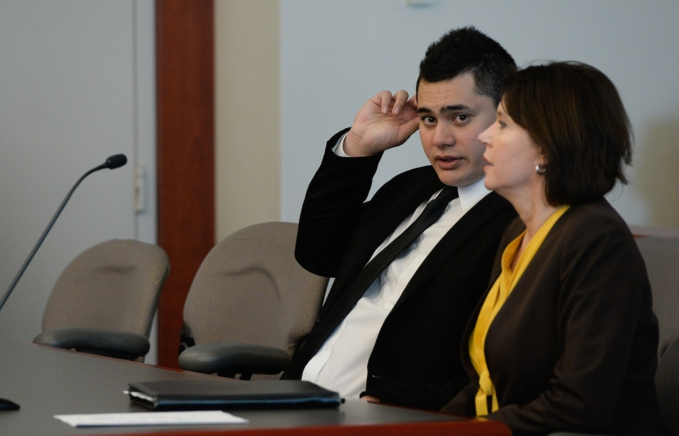 (Francisco Kjolseth | The Salt Lake Tribune) Former Brighton High and University of Southern California linebacker Osa Masina is joined by his defense attorney Rebecca Hyde Skordas during his sentencing for sexual battery at the Matheson Courthouse in Salt Lake City on Tuesday, Dec. 5, 2017. Masina was sentenced to 365 days in jail, followed by two years on probation.