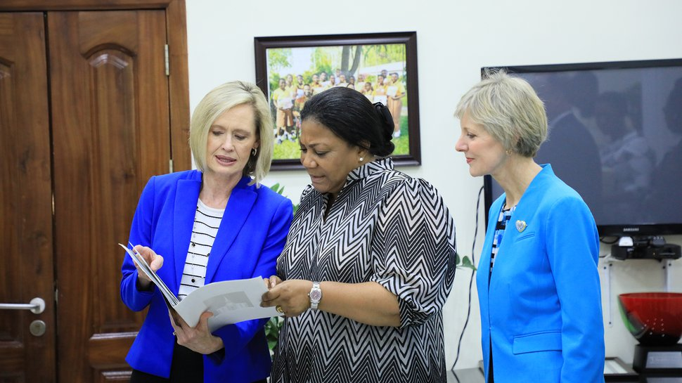 (Photo courtesy of The Church of Jesus Christ of Latter-day Saints) Bonnie H. Cordon, left, and Jean B. Bingham, right, visit Rebecca Naa Okaikor Akufo-Addo, the first lady of the Republic of Ghana, at North Ridge in Accra, Friday, March 1, 2019.