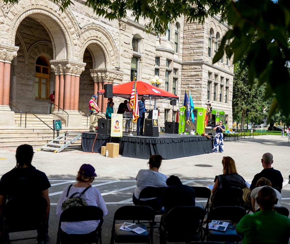 (Leah Hogsten | The Salt Lake Tribune) Dozens attend Saturday's Rise For Refuge resource fair and call for action on the steps of the Salt Lake City and County Building in response to the Trump AdministrationÕs refugee and immigration policies.