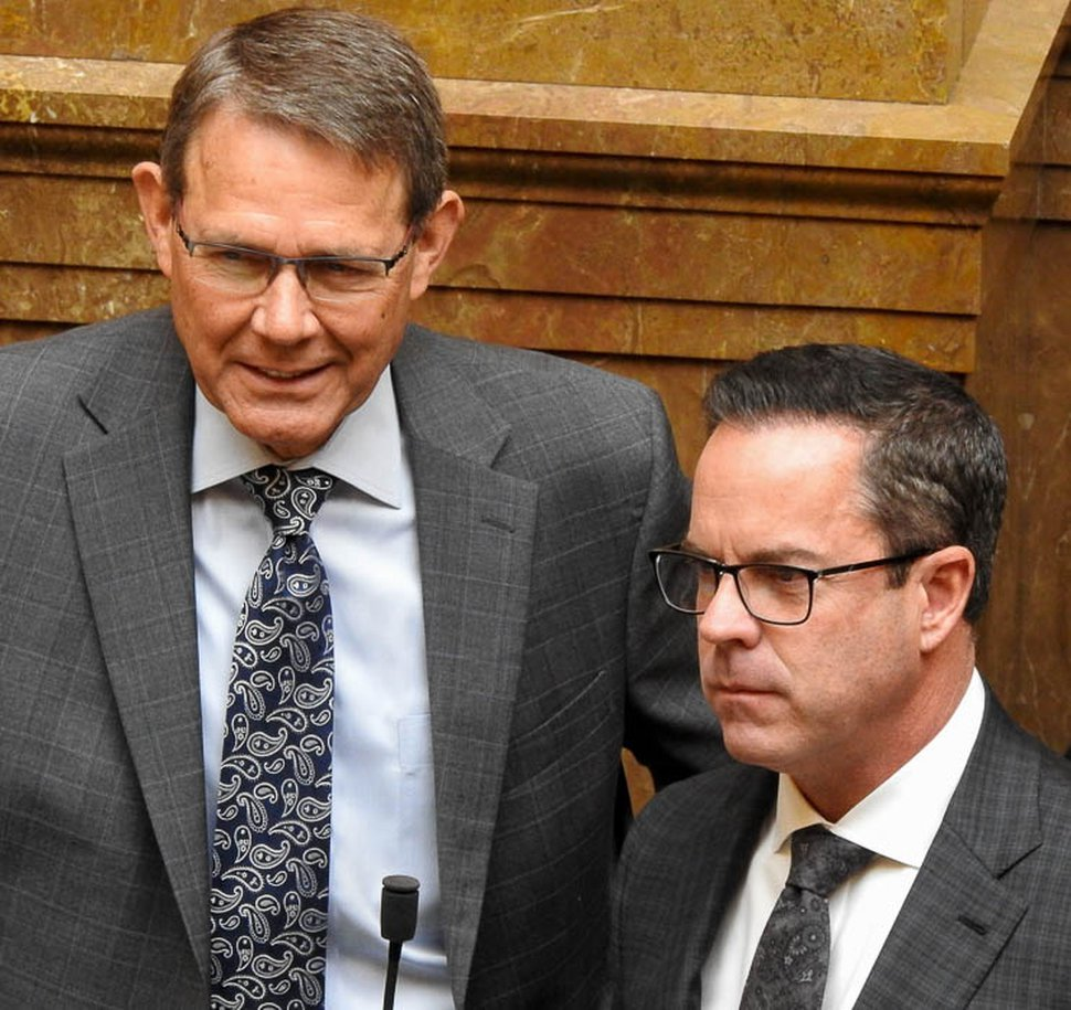 (Trent Nelson | Tribune file photo) Rep. Bradley G. Last, R-Hurricane, and Rep. Brad R. Wilson, R-Kaysville, as seen on the Utah House floor on Tuesday January 30, 2018.