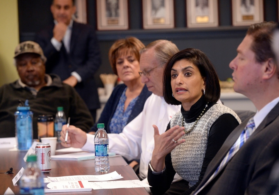 (Al Hartmann | The Salt Lake Tribune) The administrator for the Centers for Medicare and Medicaid Services, Seema Verma, right, takes questions from seniors at AARP Utah State office in Midvale Monday Nov. 13. She is in Utah for a listening session to talk about about Medicare open enrollment, currently underway.