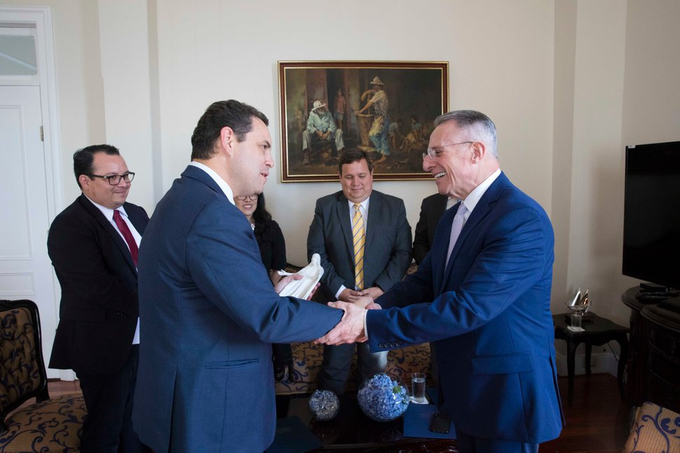 (Photo courtesy of The Church of Jesus Christ of Latter-day Saints) Elder Ulisses Soares of the Quorum of the Twelve Apostles, right, greets Carlos Benavides Jiménez, president of Costa Rica's Legislative Assembly, on Feb 13, 2020.