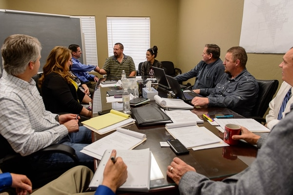 Trent Nelson | The Salt Lake Tribune Shawn and Alexandra Stubbs meet with the board of the United Effort Plan trust in hopes of getting a home for their family, in Hildale, Saturday February 11, 2017.