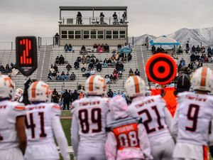 (Trent Nelson  |  The Salt Lake Tribune) Timpview faces Salem Hills High School in a football playoff game at Cedar Valley High School in Eagle Mountain on Friday, Nov. 13, 2020.