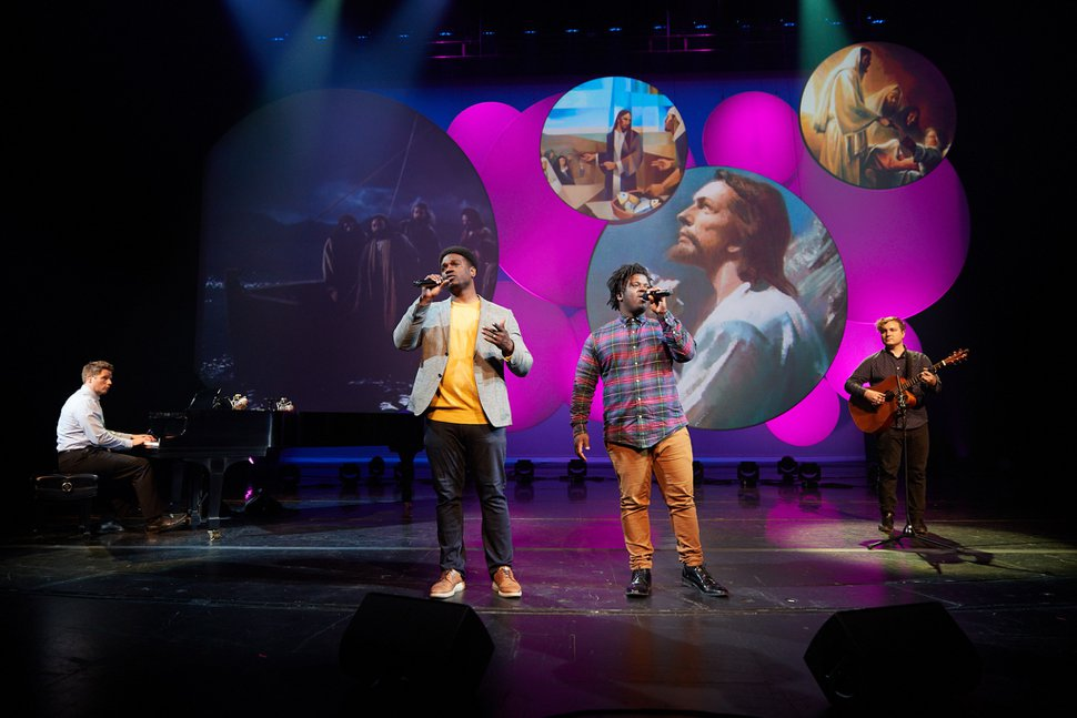 """(Photo courtesy of The Church of Jesus Christ of Latter-day Saints) Brothers Yahosh and Oba Bonner, members of the musically talented Bonner family, perform """"Peace in Christ,"""" as part of the Youth Music Festival 2020 broadcast, which aired on Wednesday, July 29, 2020. Yahosh hosted the event for youths that showcased music from the 2020 youth music album."""