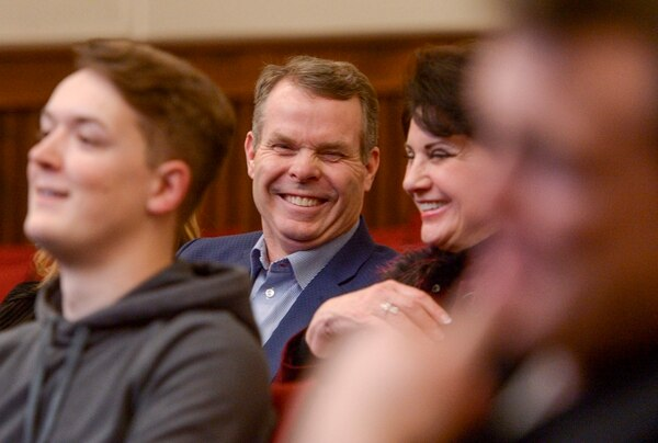 (Leah Hogsten | The Salt Lake Tribune) Former Utah Attorney General John Swallow laughs as Karl Rove delivers his speech
