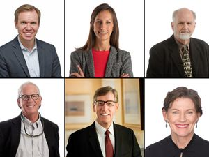 (Tribune file photos) The Salt Lake Tribune Editorial Board includes Paul Huntsman (clockwise from top left), Lauren Gustus, George Pyle, Tim Fitzpatrick, A. Scott Anderson, and Holly Mullen.