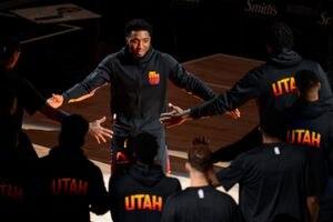 (Trent Nelson  |  The Salt Lake Tribune) Utah Jazz guard Donovan Mitchell (45) as the Utah Jazz host the Minnesota Timberwolves, NBA basketball in Salt Lake City on Saturday, Dec. 26, 2020.