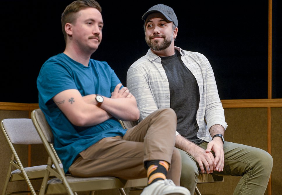 ( Leah Hogsten | The Salt Lake Tribune ) Left to right: Actor Austin Archer and playwright Matthew Greene discuss Greene's one-man play