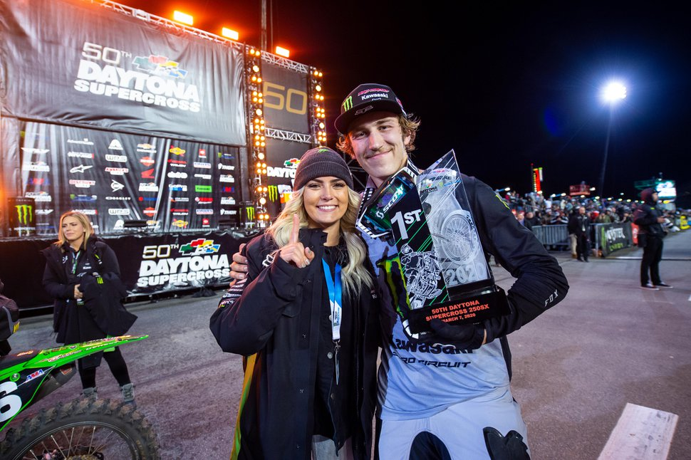 (Photo courtesy of Feld Entertainment) Garrett Marchbanks of Coalville became the first Utahn to win a Supercross race when he won the 250SX East race in Daytona on March 7, 2020. Marchbanks will make his debut at Rice-Eccles Stadium on the University of Utah campus, where he grew up watching the sport, this month. The Monster Energy AMA Supercross tour will wrap up a season interrupted by COVID-19 with seven races at the stadium from May 31 to June 27, 2020.