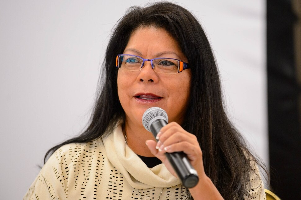 (Trent Nelson | The Salt Lake Tribune) Patty Talahongva discusses The geopolitics of religion: why some religious conflicts get more international attention than others at the International Association of Religion Journalists conference in Salt Lake City on Thursday Oct. 10, 2019.