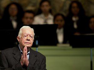 (David Goldman | AP file photo) In this Aug. 23, 2015, file photo, former President Jimmy Carter teaches Sunday school at Maranatha Baptist Church in his hometown of Plains, Ga.