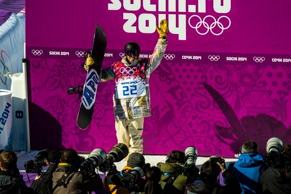 Chris Detrick | The Salt Lake Tribune Sage Kotsenburg, of Park City, reacts after competing in the Men's Slopestyle Finals at the Rosa Khutor Extreme Park during the 2014 Sochi Olympic Games Saturday February 8, 2014. Kotsenburg won the gold medal with a score of 93.50.