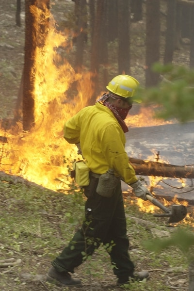 (Al Hartmann | Tribune file photo) In this 2002 file photo, Josh Spraycar, of Roy, Utah, tries to keep a hot spot fire that burst into flame along the East Fork of the Bear River under control. The East Fork Fire burned 14,200 acres of national forest in the Uinta Mountains, but is best remembered for who started it and how much it cost. A Boy Scout troop was found responsible for starting the fire, which cost $14 million to fight. The Boy Scouts of America eventually reached a $6.5 million settlement with the federal government.