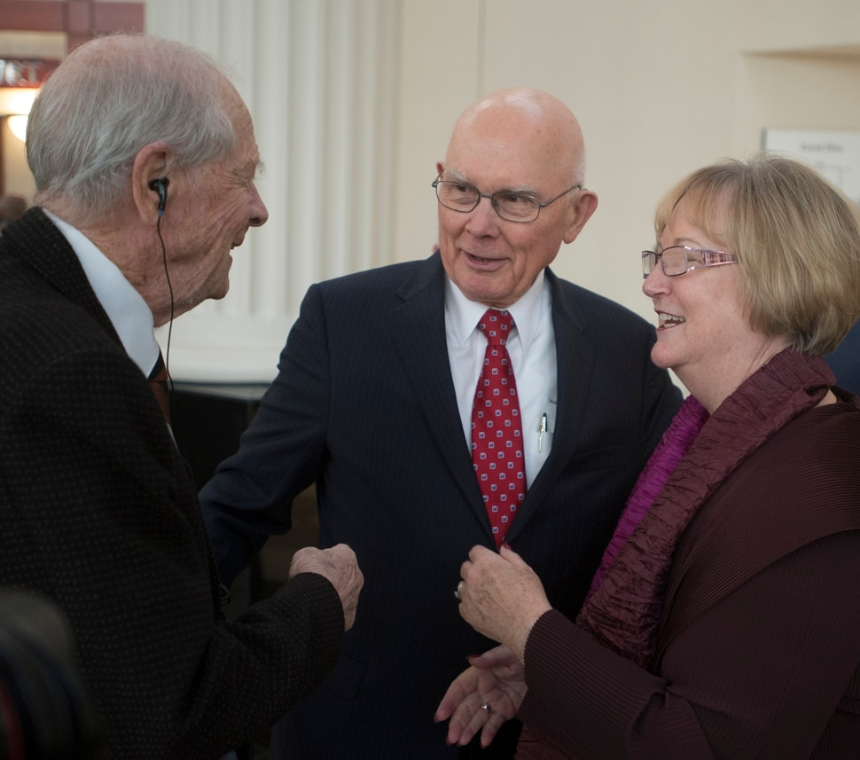 (Rick Egan | The Salt Lake Tribune) Former Chief Justice Gordon Hall, and Dallin H. Oaks visit with Justice Christine M. Durham, during Judge Durham's retirement reception at the Matheson Courthouse, Monday, November 13, 2017.