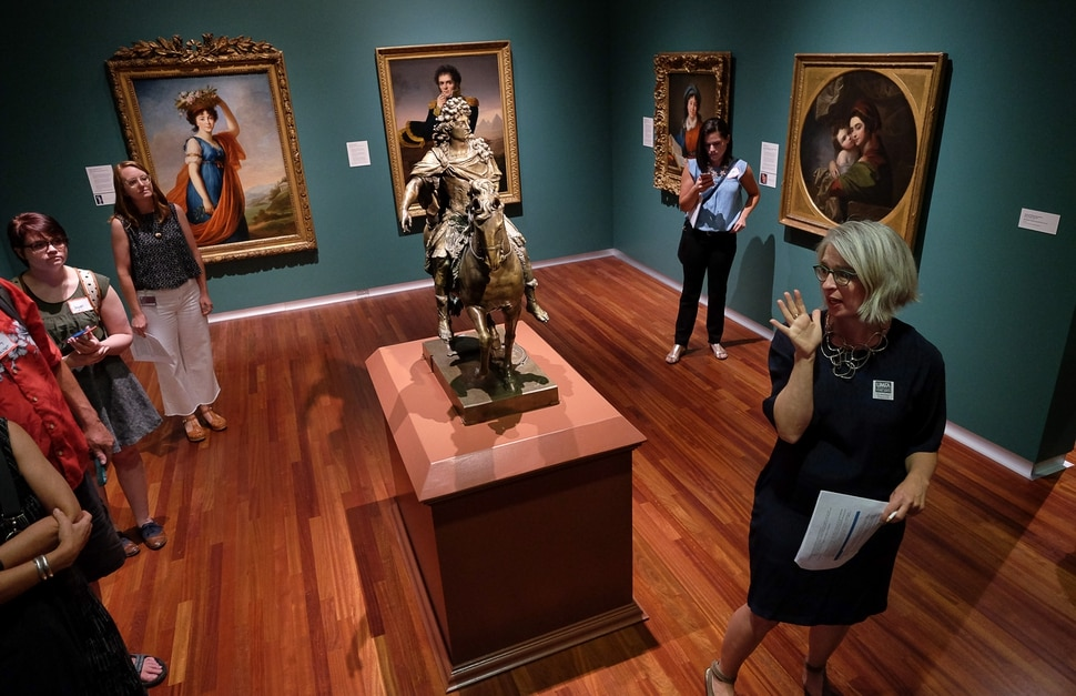 (Francisco Kjolseth | The Salt Lake Tribune) Gretchen Dietrich, right, executive director of the Utah Museum of Fine Arts, gives a media tour Friday, Aug. 25. The museum, after 19 months of being closed for building renovations and a reimagining of the gallery spaces, re-opens this weekend with a two-day celebration.