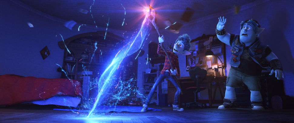 (Image courtesy of Disney/Pixar) Brothers Barley, right (voiced by Chris Pratt), and Ian (voiced by Tom Holland) try a magic spell that has unforeseen consequences, in the adventure