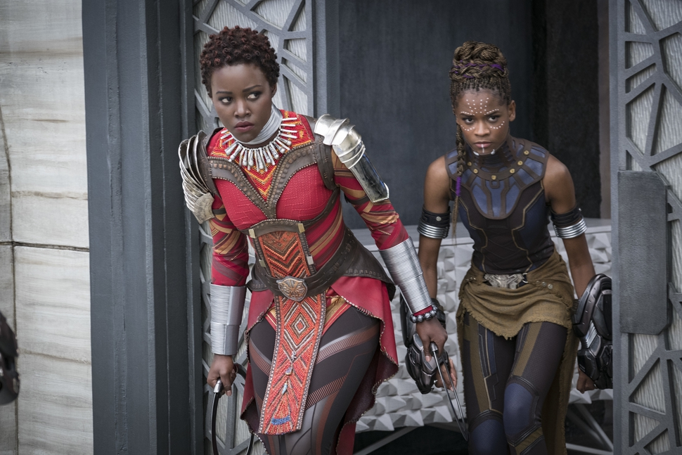 This image released by Disney shows Lupita Nyong'o, left, and Letitia Wright in a scene from Marvel Studios' Black Panther. (Matt Kennedy/Marvel Studios-Disney via AP)