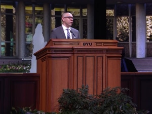 (Screenshot) Ryan Gabriel, an assistant professor at Brigham Young University, gives a devotional address online on Tuesday, April 6, 2021.