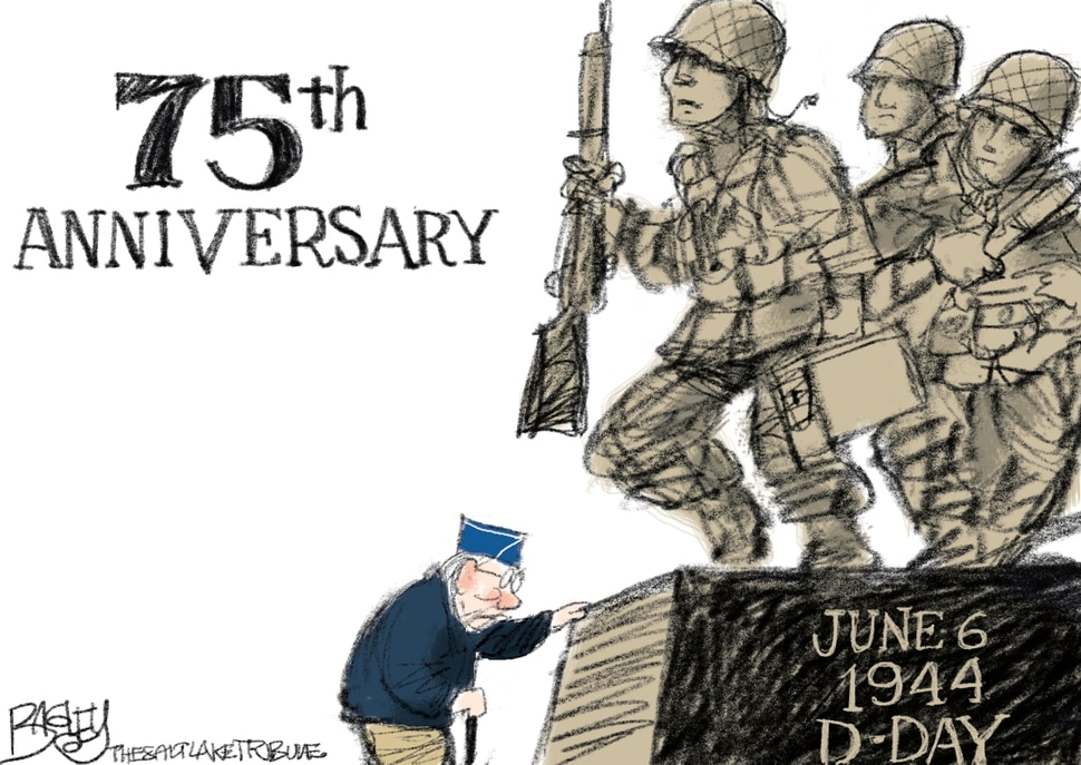 "(Pat Bagley | The Salt Lake Tribune) This cartoon, titled ""Remembering D-Day,"" appears in the Salt Lake Tribune on Wednesday, June 5, 2019."