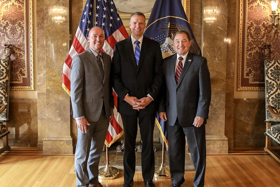 (Courtesy photo) Lt. Gov. Spencer Cox, left, and Gov. Gary Herbert flank Maj. Jess Anderson, whom Herbert has picked to serve as commissioner of the Utah Department of Public Safety, in the Gold Room of the Capitol on Thursday.