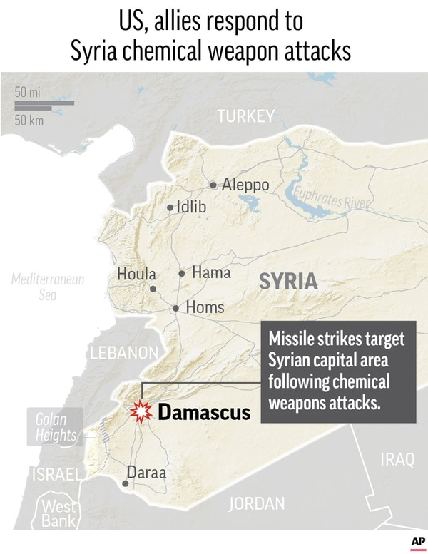 Map locates the capital of Syria, where U.S. and ally strikes were reported in retaliation of Syria's use of chemical weapons.