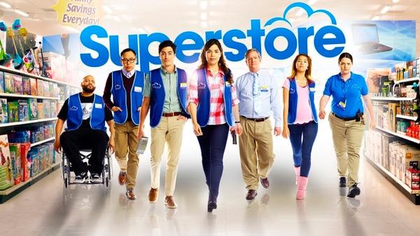 "Courtesy | NBCUniversal Colton Dunn as Garrett, Nico Santos as Mateo, Ben Feldman as Jonah, America Ferrera as Amy, Mark McKinney as Glenn, Nichole Bloom as Cheyenne and Lauren Ash as Dina in ""Superstore."""