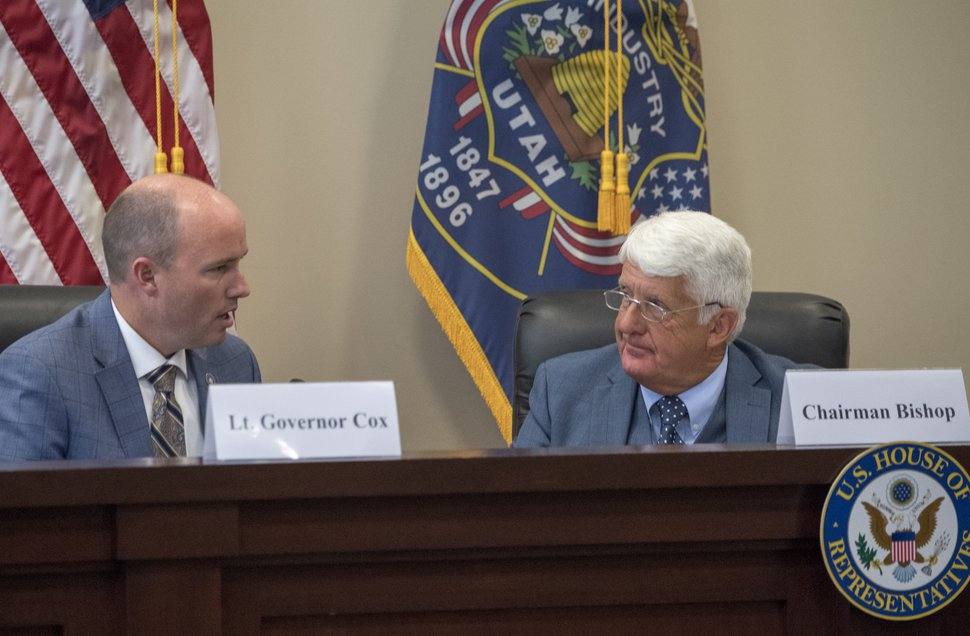 (Rick Egan | The Salt Lake Tribune) Lt. Rep. Rob Bishop listens as Gov. Spencer Cox, makes a comment as the U.S. House Natural Resources Committee holds a forum about how to address catastrophic wildfires, at the State Senate Building, Thursday, Aug. 30, 2018.