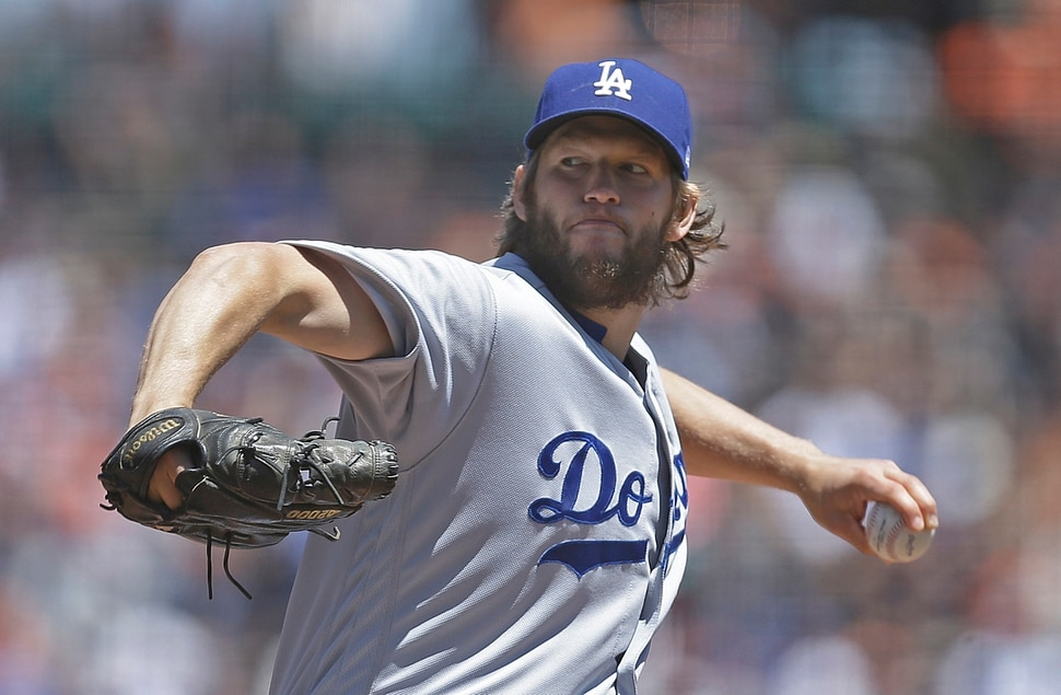 Los Angeles Dodgers pitcher Clayton Kershaw works against the San Francisco Giants in the first inning of a baseball game Wednesday, May 17, 2017, in San Francisco. (AP Photo/Ben Margot)